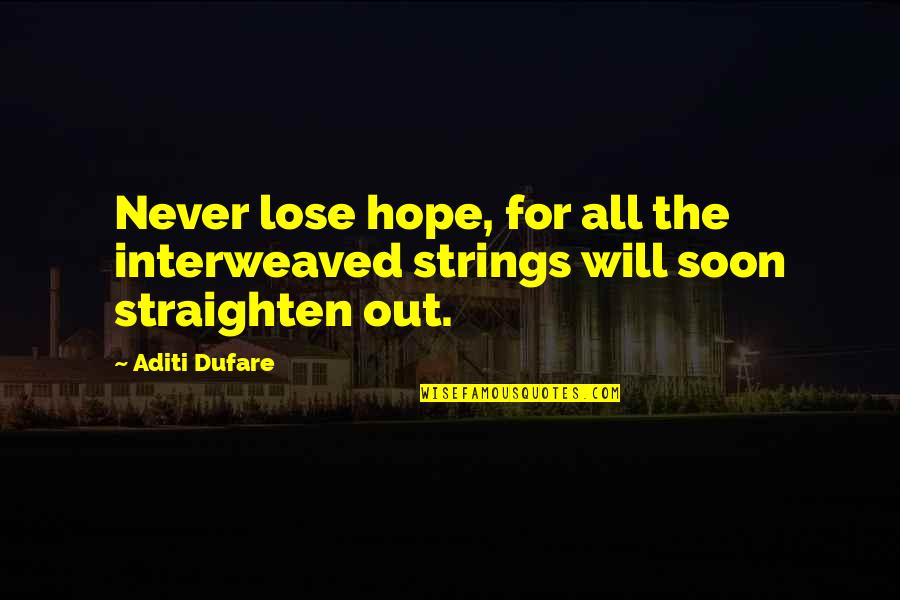 I Never Lose My Hope Quotes By Aditi Dufare: Never lose hope, for all the interweaved strings