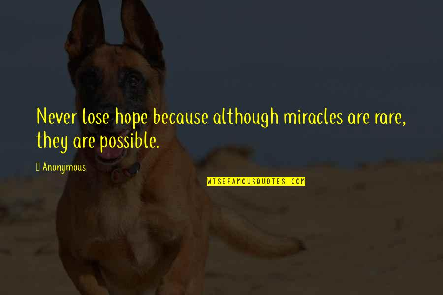 I Never Lose My Hope Quotes By Anonymous: Never lose hope because although miracles are rare,