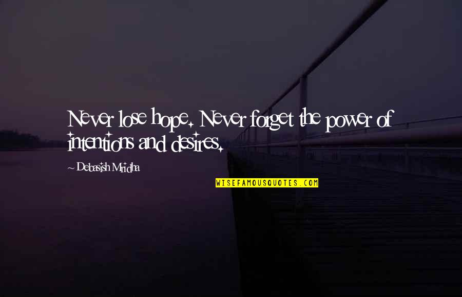 I Never Lose My Hope Quotes By Debasish Mridha: Never lose hope. Never forget the power of