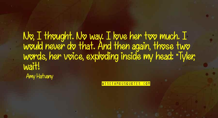 I Never Thought That Quotes By Amy Hatvany: No, I thought. No way. I love her