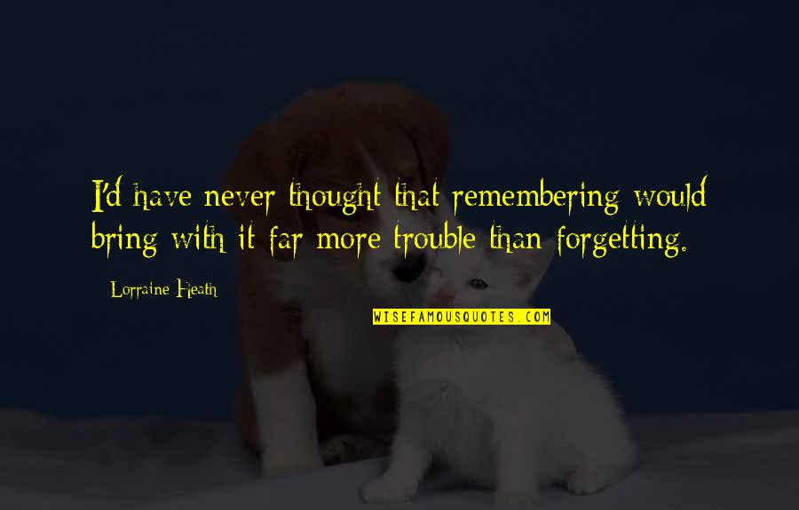 I Never Thought That Quotes By Lorraine Heath: I'd have never thought that remembering would bring