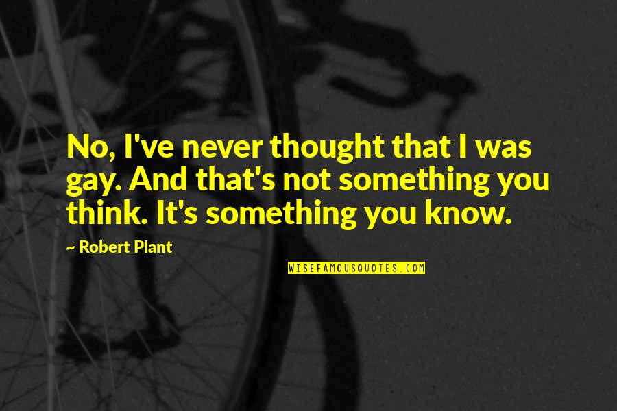 I Never Thought That Quotes By Robert Plant: No, I've never thought that I was gay.