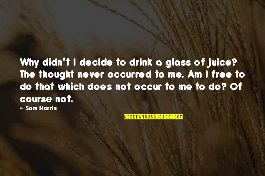 I Never Thought That Quotes By Sam Harris: Why didn't I decide to drink a glass