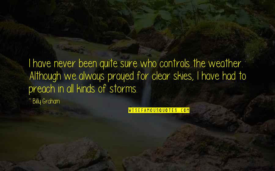 I Prayed Quotes By Billy Graham: I have never been quite sure who controls