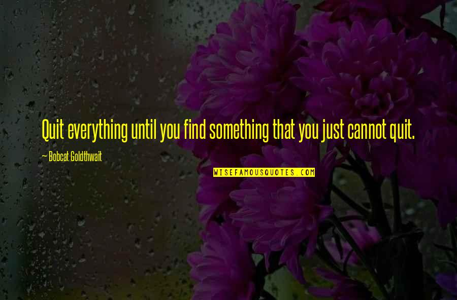 I Quit Everything Quotes By Bobcat Goldthwait: Quit everything until you find something that you