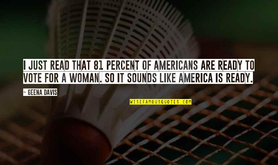 I Ready Quotes By Geena Davis: I just read that 81 percent of Americans