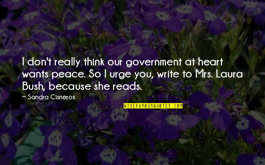 I Really You Quotes By Sandra Cisneros: I don't really think our government at heart