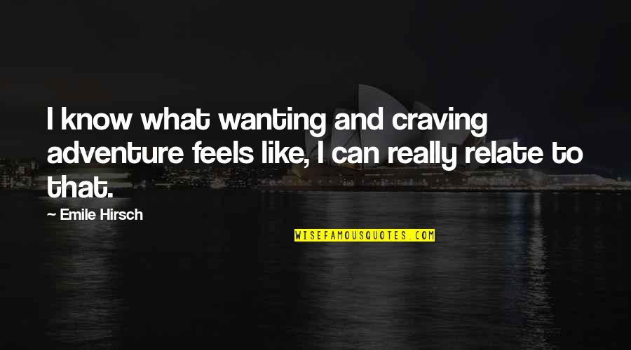 I Relate To That Quotes By Emile Hirsch: I know what wanting and craving adventure feels