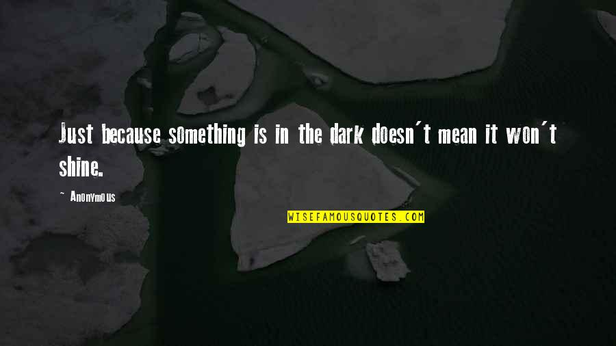 I Shine Because Of You Quotes By Anonymous: Just because something is in the dark doesn't