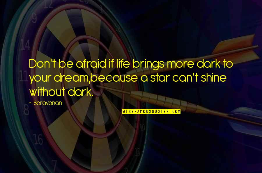 I Shine Because Of You Quotes By Saravanan: Don't be afraid if life brings more dark