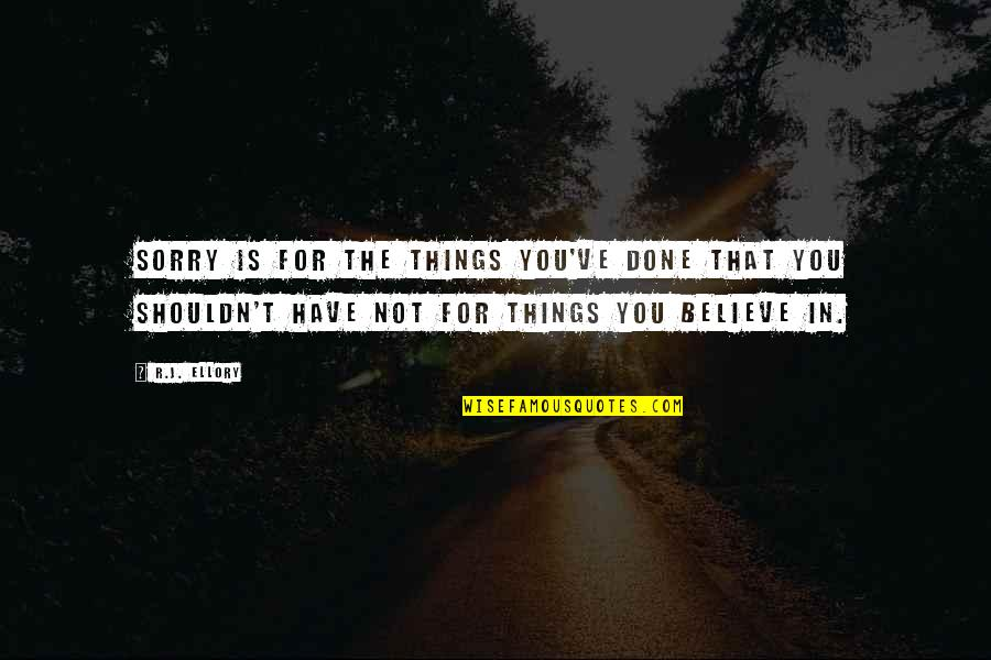 I Shouldn't Have Done That Quotes By R.J. Ellory: Sorry is for the things you've done that