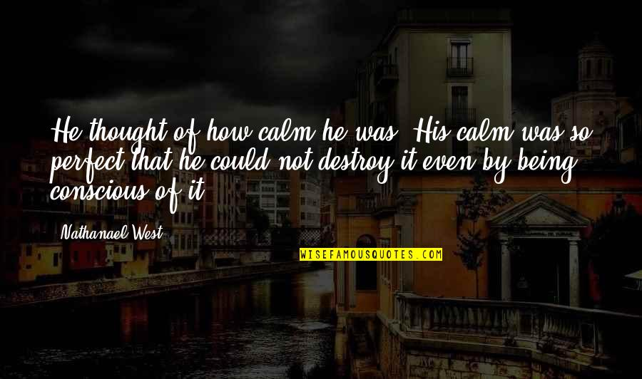 I Thought You Were Perfect Quotes By Nathanael West: He thought of how calm he was. His