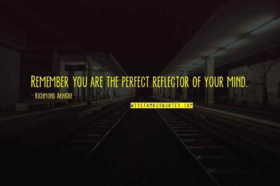 I Thought You Were Perfect Quotes By Richmond Akhigbe: Remember you are the perfect reflector of your