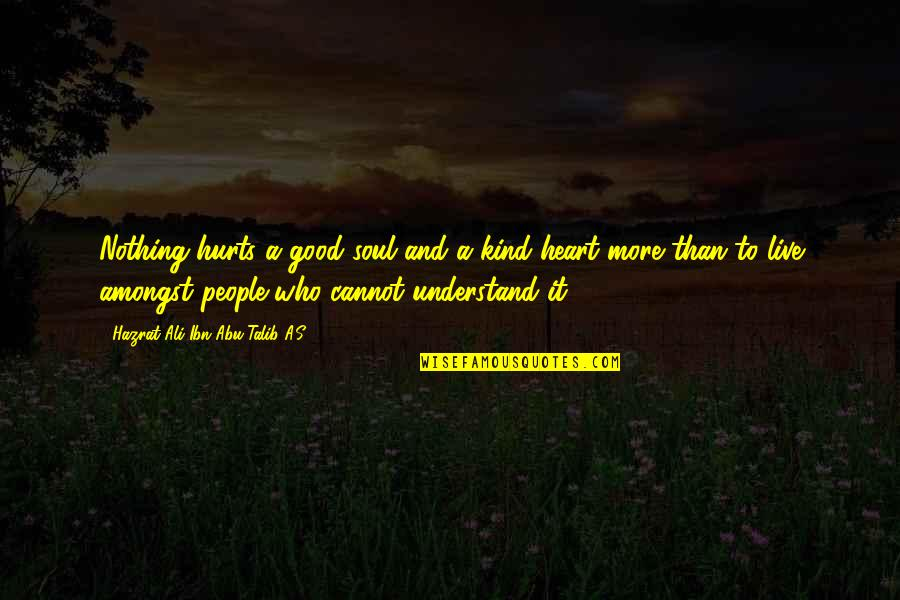 I Understand Your Pain Quotes By Hazrat Ali Ibn Abu-Talib A.S: Nothing hurts a good soul and a kind