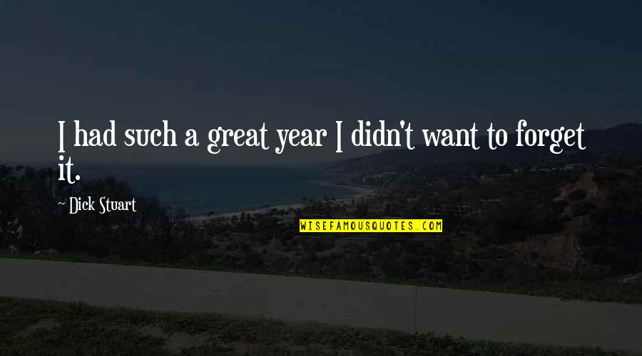 I Want To Forget Quotes By Dick Stuart: I had such a great year I didn't