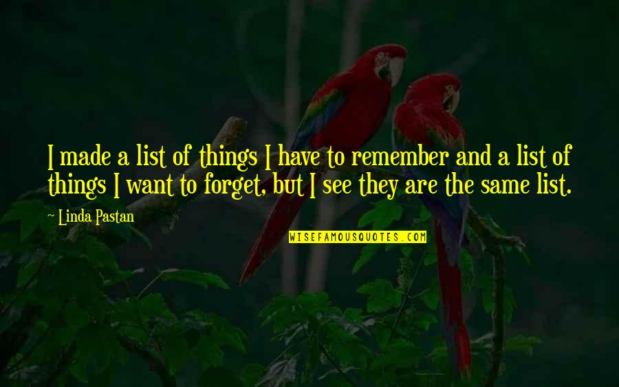 I Want To Forget Quotes By Linda Pastan: I made a list of things I have
