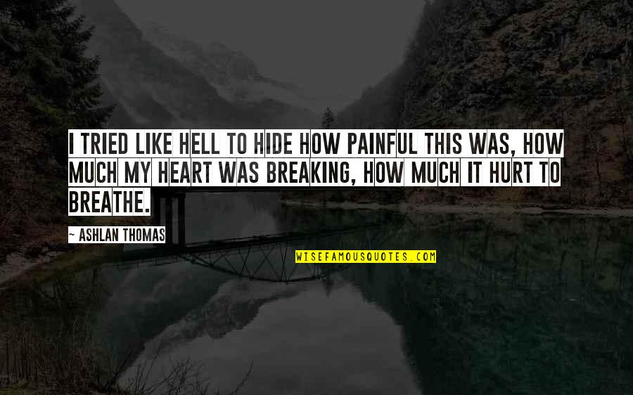 I Was Hurt Quotes By Ashlan Thomas: I tried like hell to hide how painful