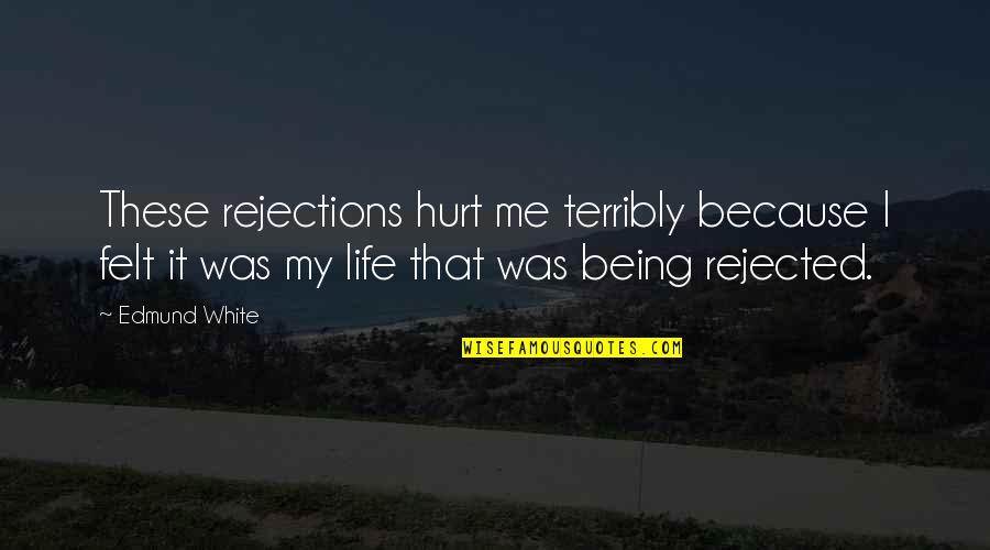 I Was Hurt Quotes By Edmund White: These rejections hurt me terribly because I felt