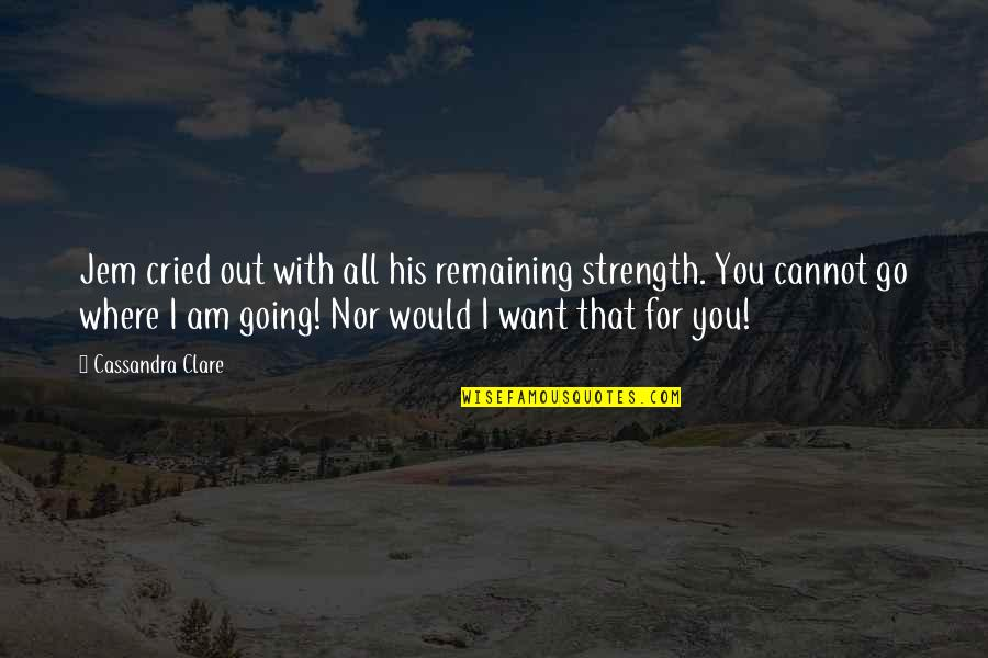 I Will Go With You Quotes By Cassandra Clare: Jem cried out with all his remaining strength.