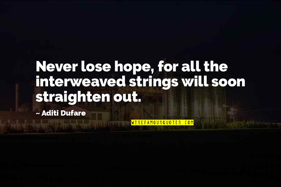 I Will Never Lose Hope Quotes By Aditi Dufare: Never lose hope, for all the interweaved strings