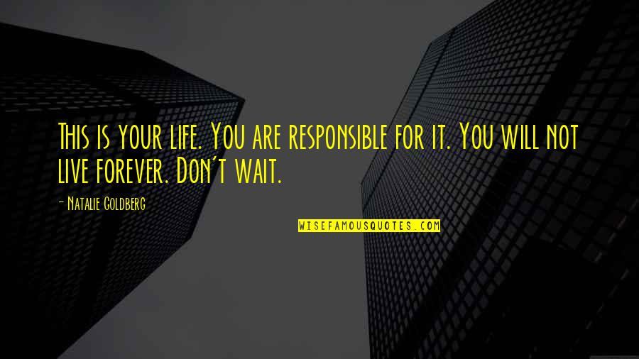 I Will Wait But Not Forever Quotes By Natalie Goldberg: This is your life. You are responsible for