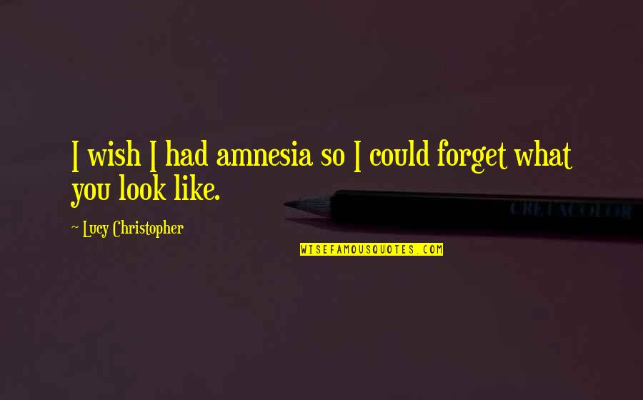 I Wish I Could Be Like You Quotes By Lucy Christopher: I wish I had amnesia so I could