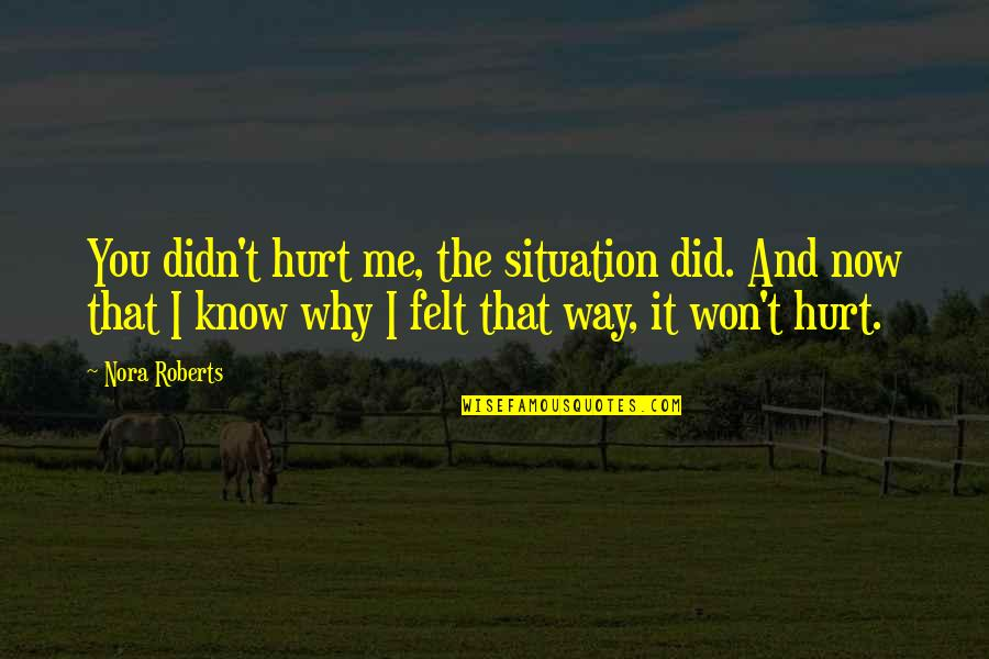I Won't Hurt You Quotes By Nora Roberts: You didn't hurt me, the situation did. And