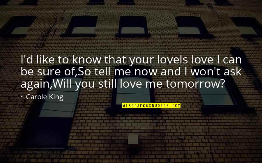 I Won't Tell You Quotes By Carole King: I'd like to know that your loveIs love