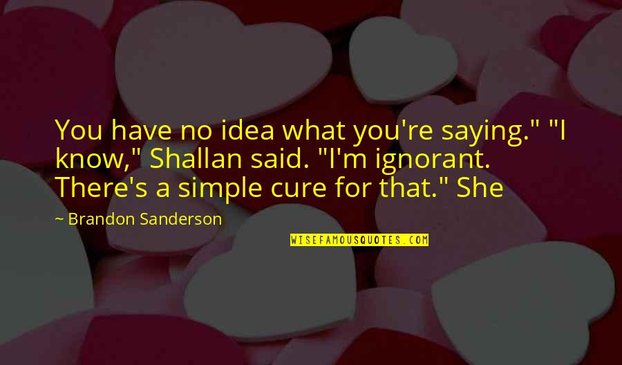 "I Would Never Cheat Quotes By Brandon Sanderson: You have no idea what you're saying."" ""I"