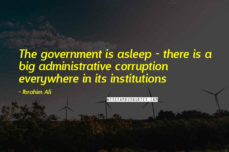 Ibrahim Ali quotes: The government is asleep - there is a big administrative corruption everywhere in its institutions