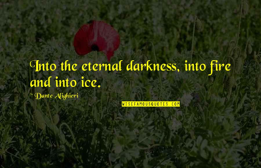 Ice And Fire Quotes By Dante Alighieri: Into the eternal darkness, into fire and into