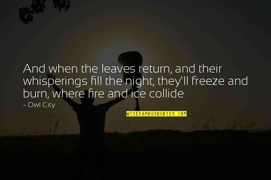 Ice And Fire Quotes By Owl City: And when the leaves return, and their whisperings