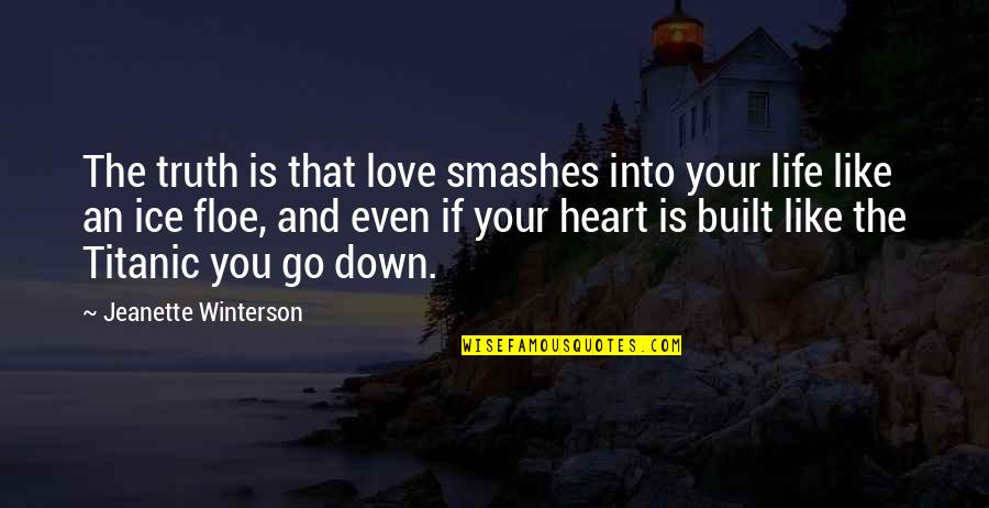 Ice Heart Quotes By Jeanette Winterson: The truth is that love smashes into your