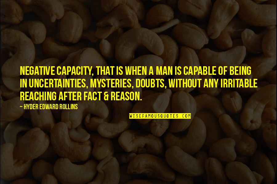 Iconosquare Single Quotes By Hyder Edward Rollins: Negative Capacity, that is when a man is