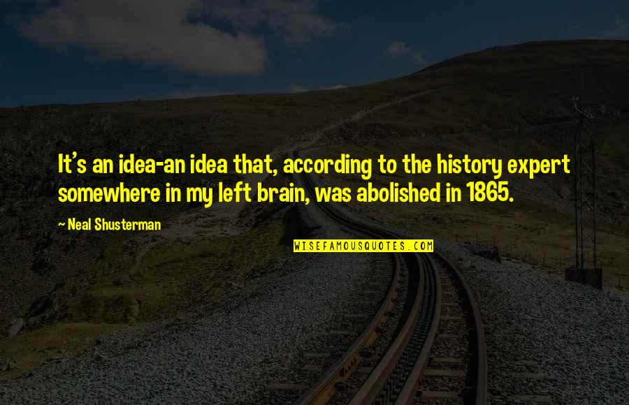 Idea Quotes By Neal Shusterman: It's an idea-an idea that, according to the