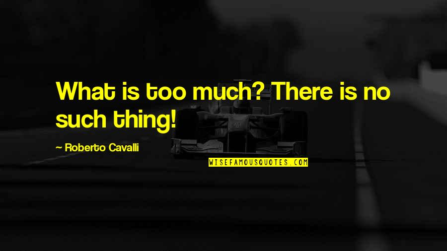 Idealized Love Quotes By Roberto Cavalli: What is too much? There is no such
