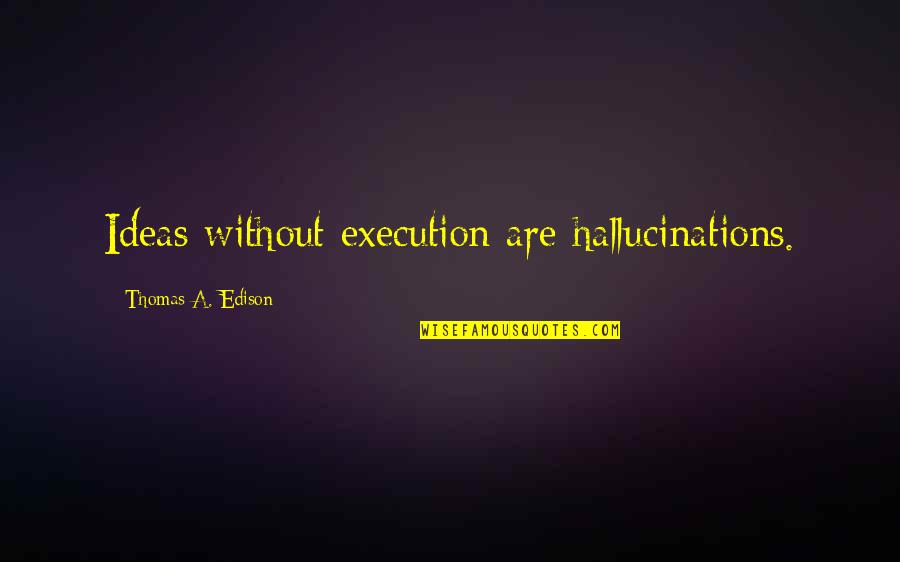 Ideas And Execution Quotes By Thomas A. Edison: Ideas without execution are hallucinations.