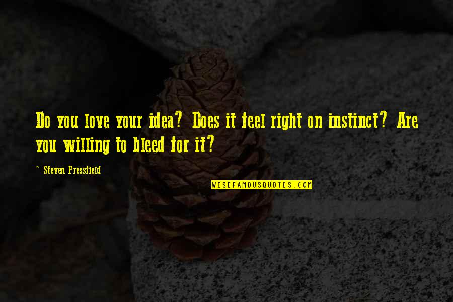 Ideas For Love Quotes By Steven Pressfield: Do you love your idea? Does it feel