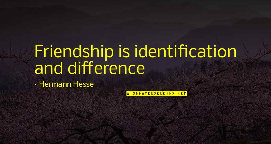 Identification Quotes By Hermann Hesse: Friendship is identification and difference