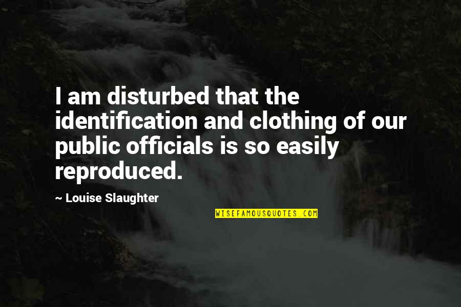 Identification Quotes By Louise Slaughter: I am disturbed that the identification and clothing