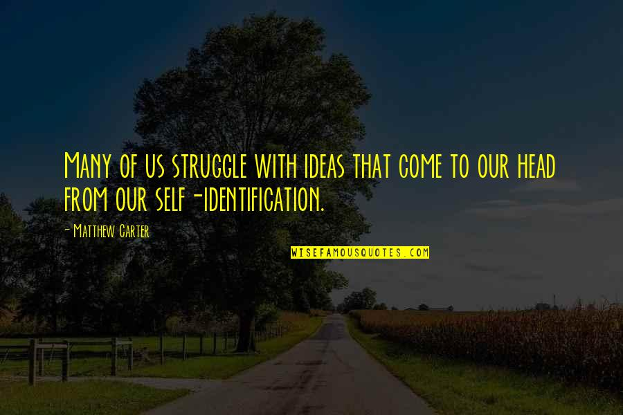 Identification Quotes By Matthew Carter: Many of us struggle with ideas that come