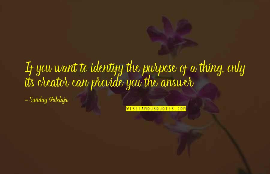 Identification Quotes By Sunday Adelaja: If you want to identify the purpose of