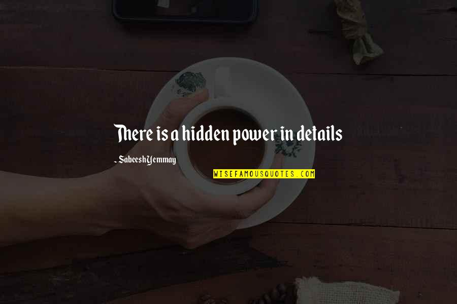 Idiom Quotes By Sabeesh Yemmay: There is a hidden power in details