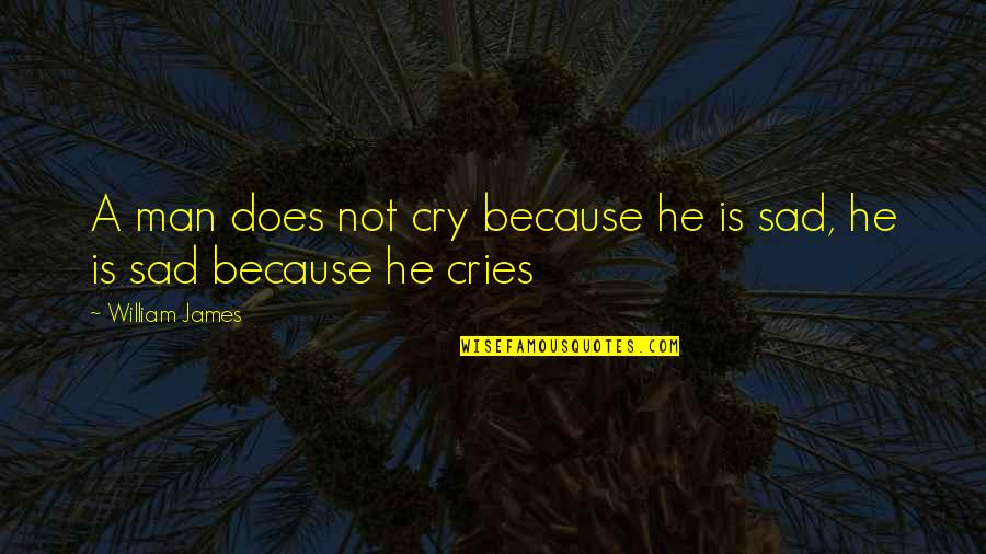 If A Man Cries Quotes By William James: A man does not cry because he is