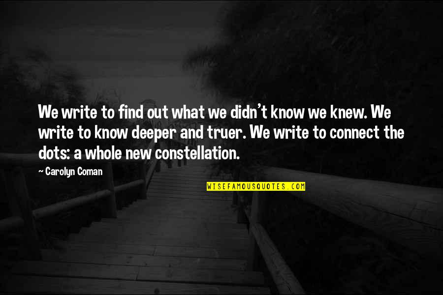 If I Knew Now What I Didn Know Then Quotes By Carolyn Coman: We write to find out what we didn't
