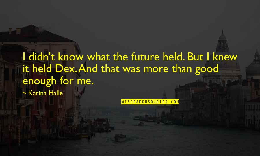 If I Knew Now What I Didn Know Then Quotes By Karina Halle: I didn't know what the future held. But