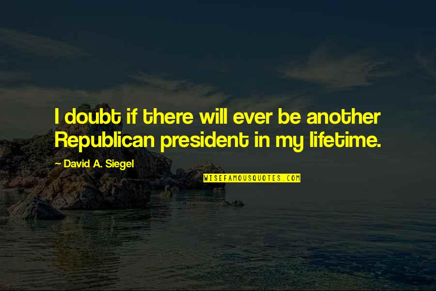 If In Doubt Quotes By David A. Siegel: I doubt if there will ever be another