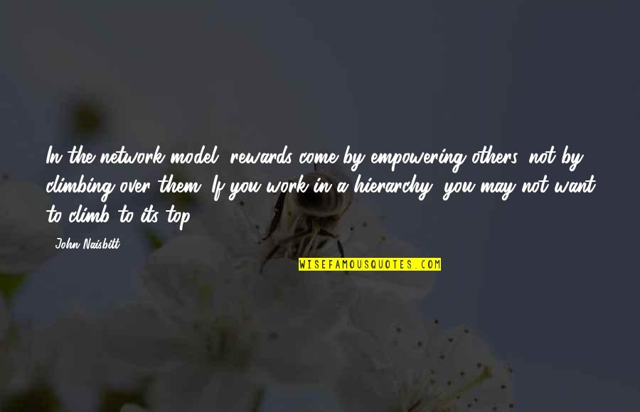 If Its Over Quotes By John Naisbitt: In the network model, rewards come by empowering