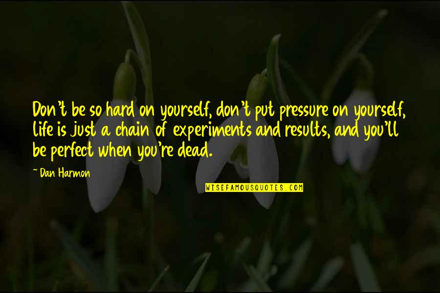 If Life Were Perfect Quotes By Dan Harmon: Don't be so hard on yourself, don't put