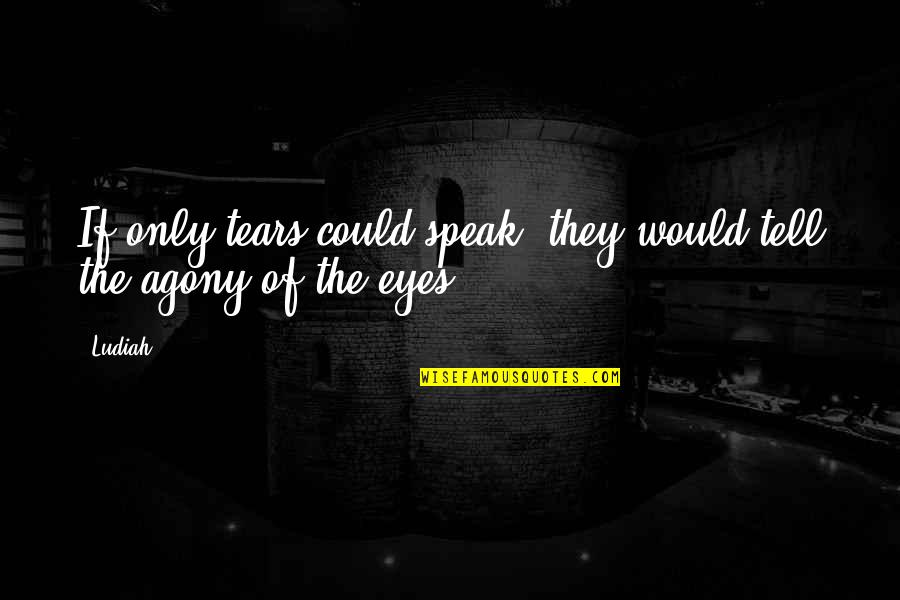 If My Eyes Could Speak Quotes By Ludiah: If only tears could speak, they would tell